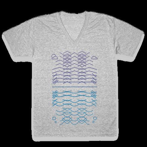Land And Sea V-Neck Tee Shirt