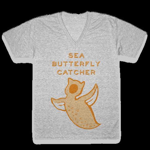 Sea Butterfly Catcher V-Neck Tee Shirt
