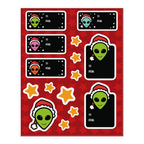 Alien Santa Gift Tag Sticker and Decal Sheet