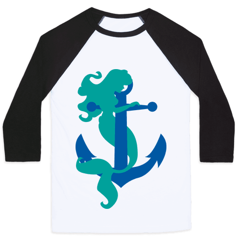 Mermaid Anchor Baseball Tee