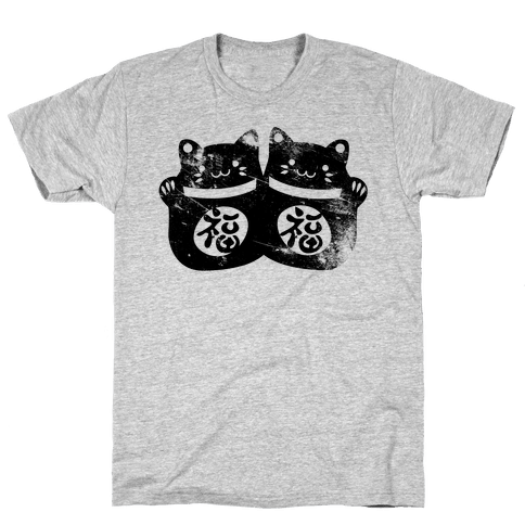 Luck Cats Distressed  Mens T-Shirt