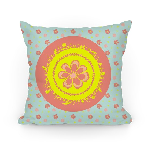 Springtime Floral Mandala (Light Blue) Pillow