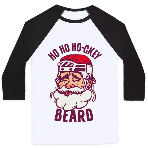 Ho Ho Ho-ckey Beard Baseball Tee