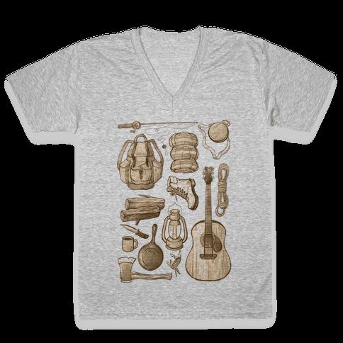 Camping Gear V-Neck Tee Shirt