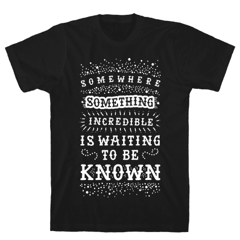 Somewhere Something Incredible Is Waiting To Be Known Mens T-Shirt