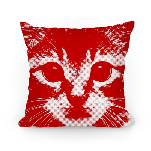 Cat Face (red) Pillow