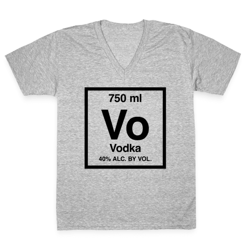 Vodka Element (Periodic Alcohol) V-Neck Tee Shirt