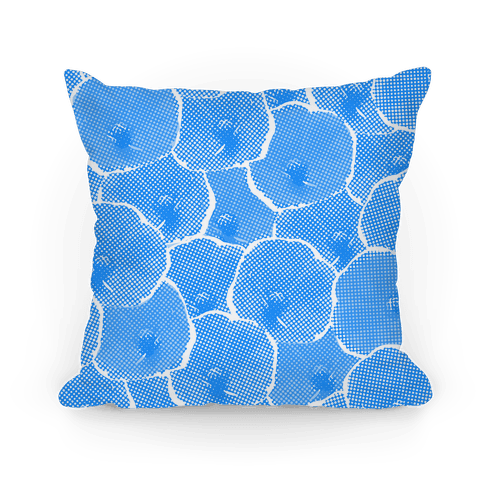 Blue Poppy Flower Pattern Pillow