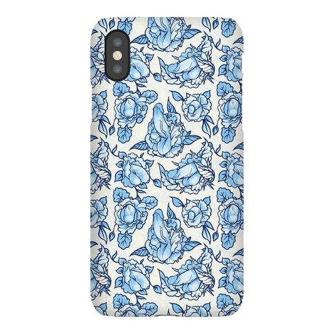 Floral Penis Pattern Blue Phone Case