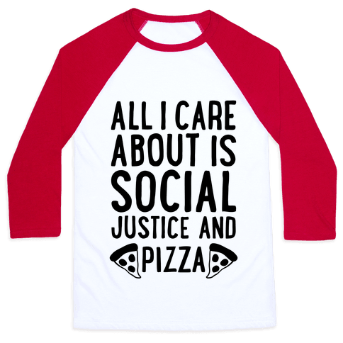 Social Justice And Pizza Baseball Tee
