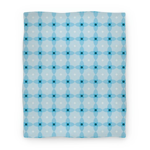 Blue Geometric Flower Pattern Blanket