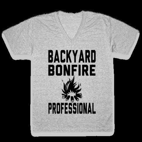 Backyard Bonfire Professional V-Neck Tee Shirt