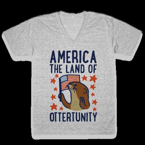 America The Land of Ottertunity V-Neck Tee Shirt