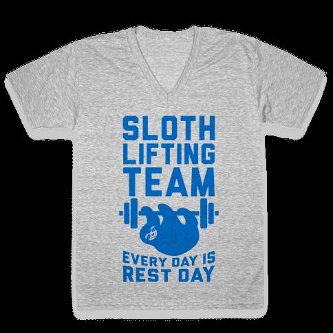 Sloth Lifting Team V-Neck Tee Shirt
