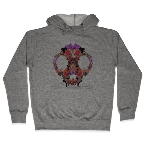 Floral Cat Skull Collage Hooded Sweatshirt