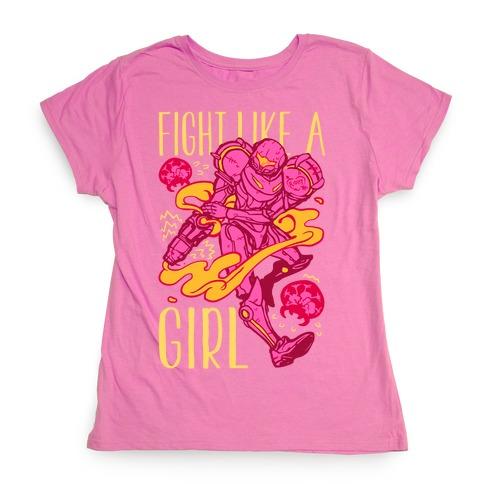 Fight Like A Girl Samus Parody Womens T-Shirt