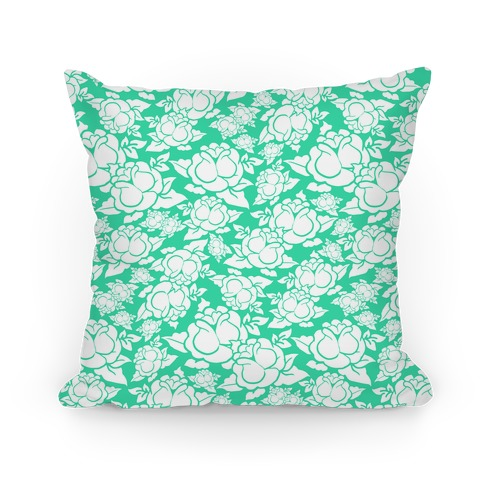Mint Green Rose Pattern Pillow