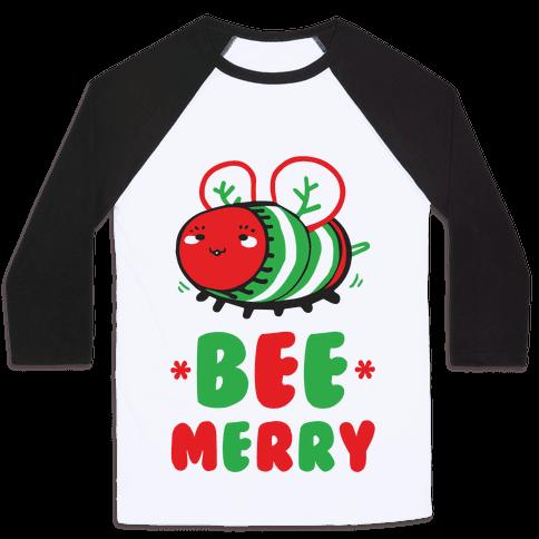 Bee Merry Baseball Tee