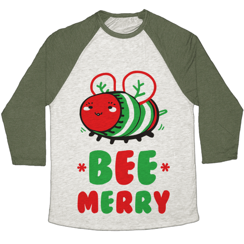 Bee Merry Baseball Tee