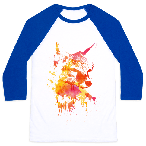 Watercolor Fox Baseball Tee