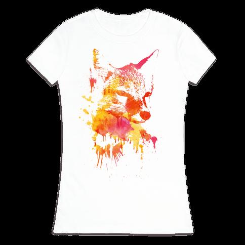 Watercolor Fox Womens T-Shirt