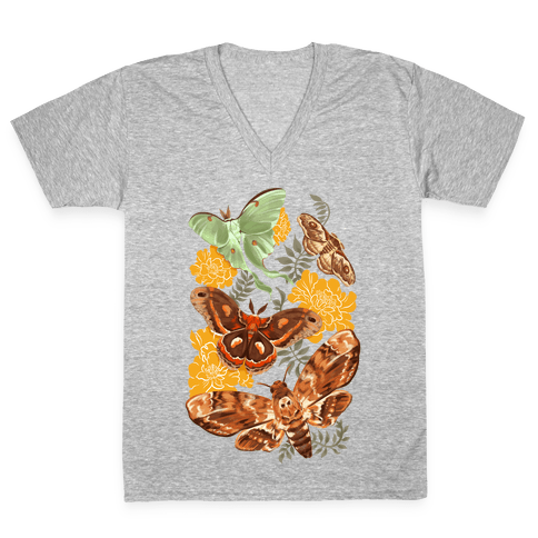 Moths & Marigolds V-Neck Tee Shirt
