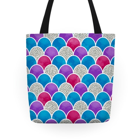 Rainbow Fish Scales Pattern Tote