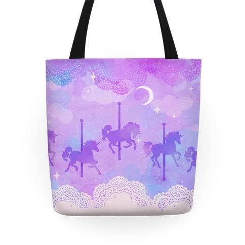 Pastel Carousel Unicorns Tote