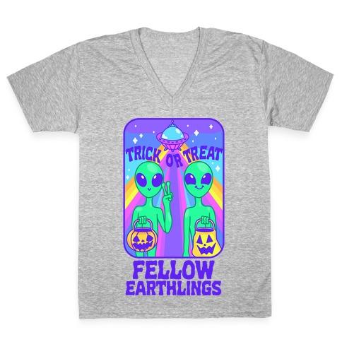 Trick Or Treat Fellow Earthlings V-Neck Tee Shirt
