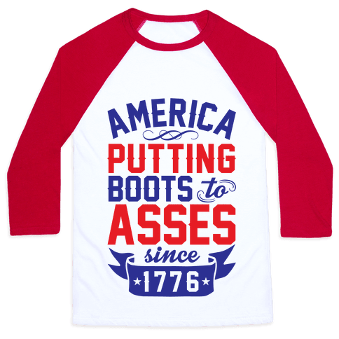 America Putting Boots To Asses Baseball Tee