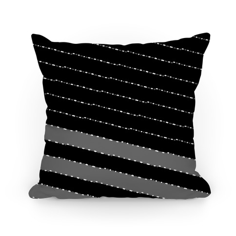 Black and White Diagonal Dashed Stripes Pattern Pillow