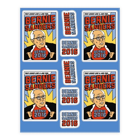 Super Hero Bernie Sanders 2016 Sticker and Decal Sheet