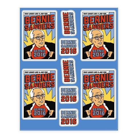 Super Hero Bernie Sanders 2016 Stickers and Decal Sheet