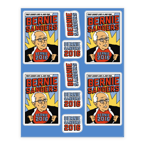 Super Hero Bernie Sanders 2016 Sticker/Decal Sheet