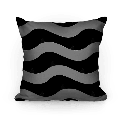 Black and White Shark Fins Waves Pattern Pillow