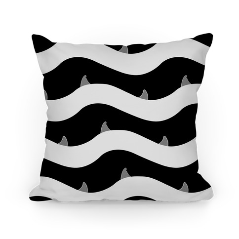 Black and White Shark Fins Waves Pattern