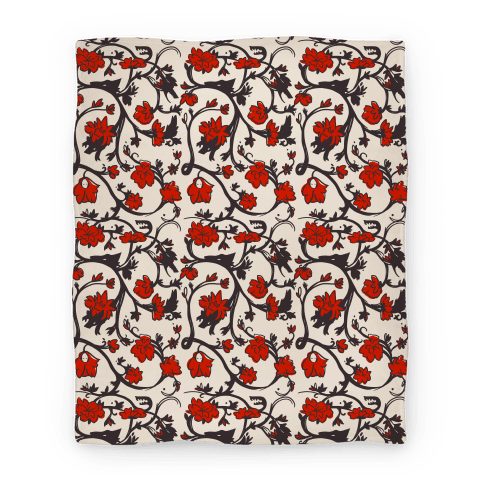 Little Red Riding Hood & Wolf Floral Pattern Blanket