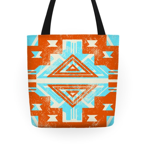 Orange and Teal Aztec Pattern Tote