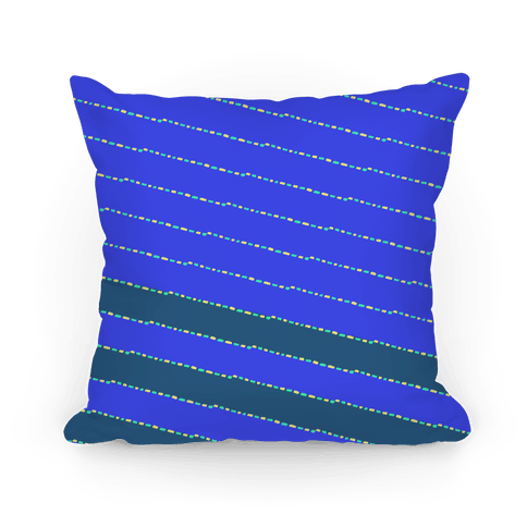 Blue Diagonal Dashed Stripes Pattern Pillow