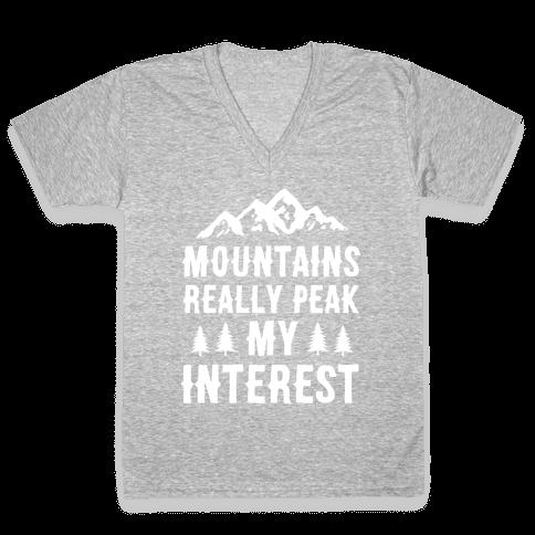 Mountains Really Peak My Interest V-Neck Tee Shirt