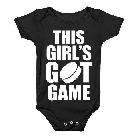 This Girl's Got Game (Hockey) (White Ink) Baby Onesy