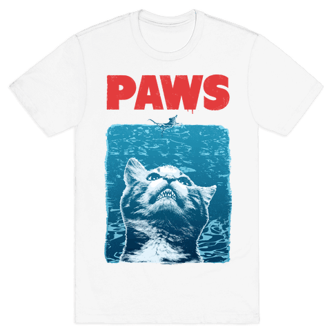 PAWS (Jaws Parody tee) Mens T-Shirt