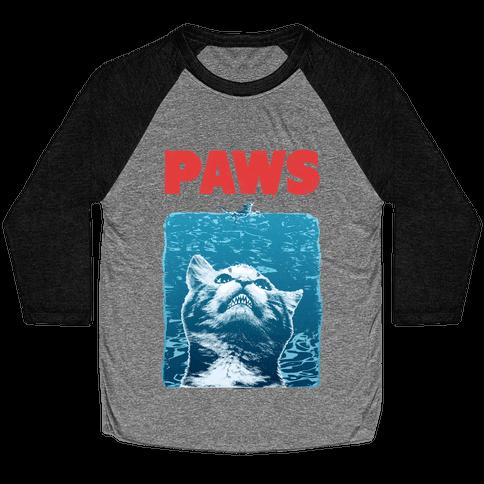 PAWS (Jaws Parody tee) Baseball Tee