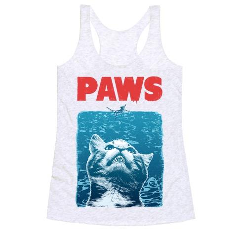 PAWS (Jaws Parody tee) Racerback Tank Top