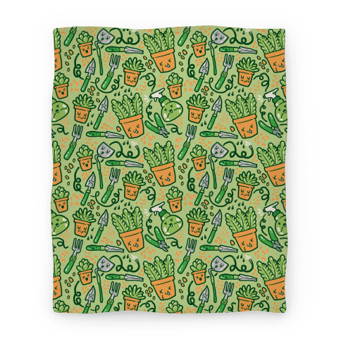 Kawaii Plants and Gardening Tools Blanket