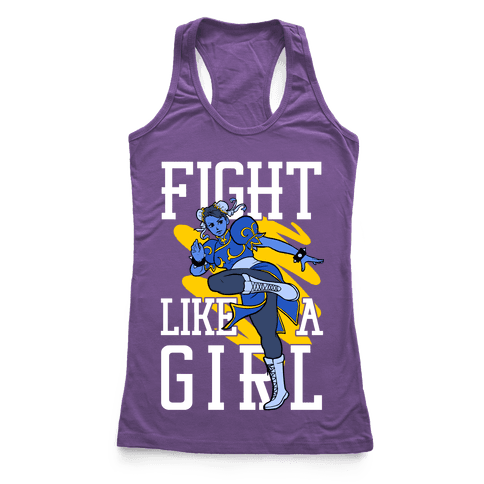 Fight Like a Girl Chun Li Parody Racerback Tank Top