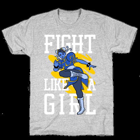 Fight Like a Girl Chun Li Parody Mens T-Shirt