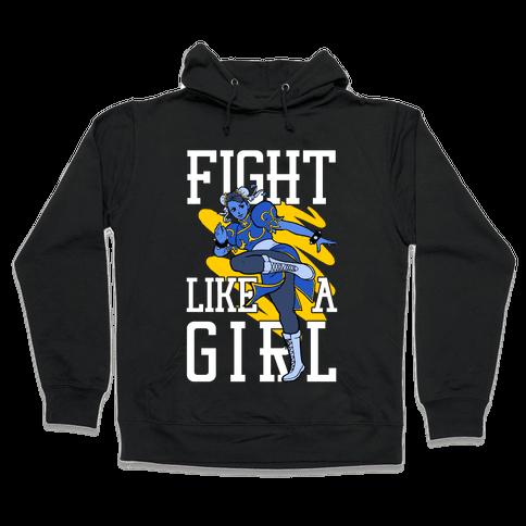Fight Like a Girl Chun Li Parody Hooded Sweatshirt