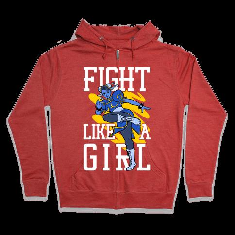 Fight Like a Girl Chun Li Parody Zip Hoodie