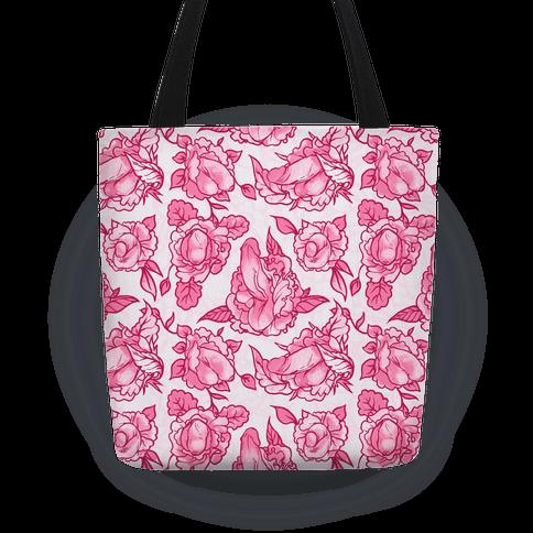 Floral Penis Pattern Pink Tote